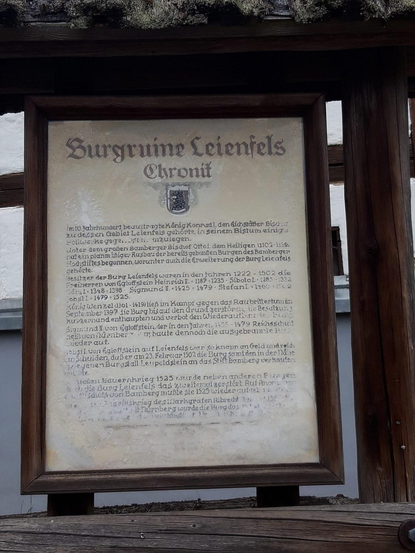 Infotafel zur Geschichte der Burg Leienfels