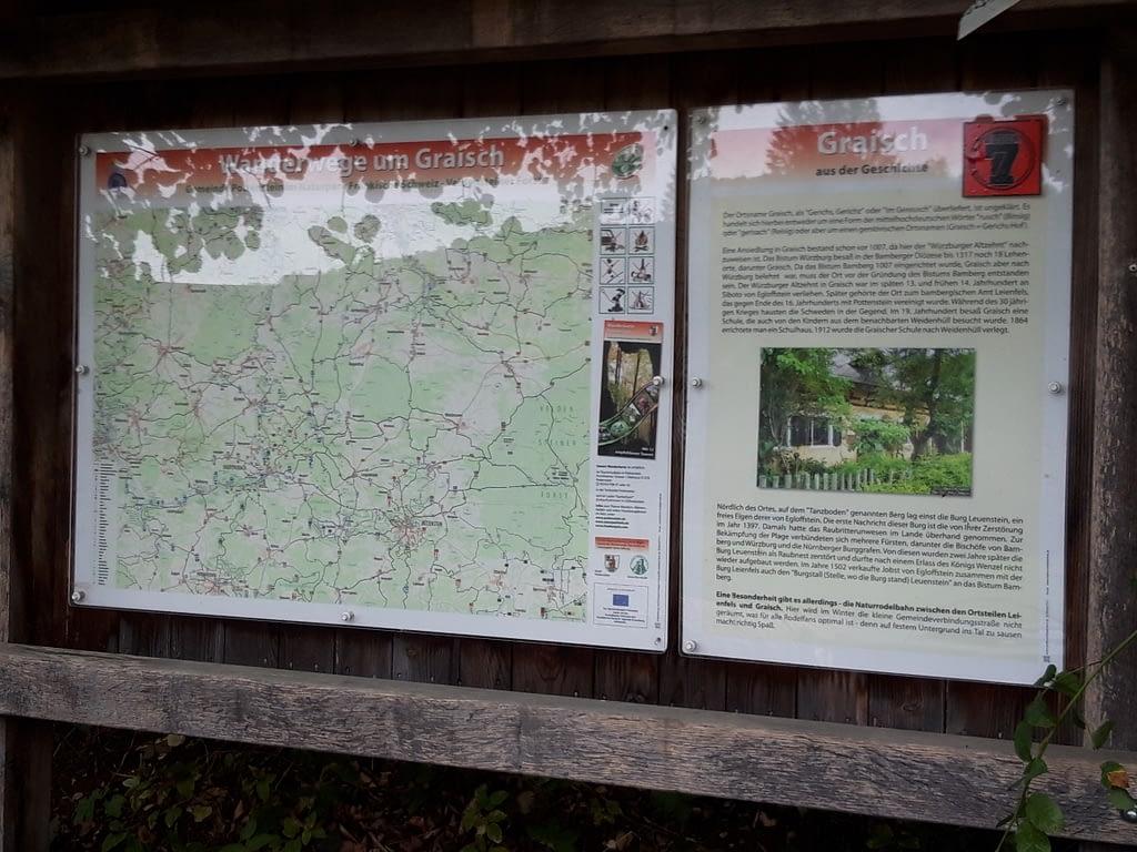 Schautafel zur Geschichte von Graisch und der ehemaligen Burg Leuenstein